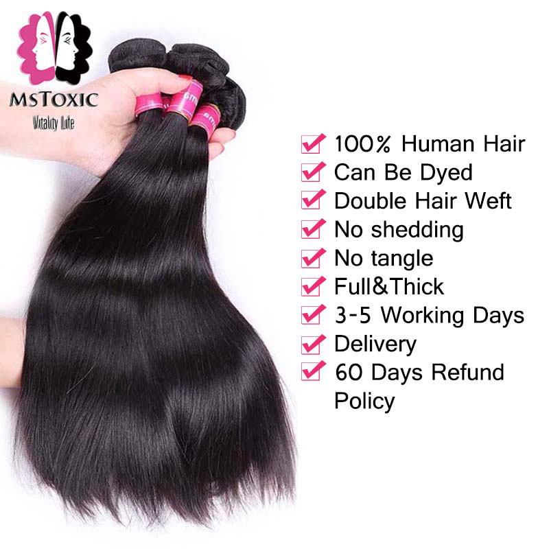 Image 4 - MSTOXIC Brazilian Straight Hair 1/3/4 Bundles 8 28inch 100% Human Hair Bundles Natural Color Remy Hair Weave Extensions-in Hair Weaves from Hair Extensions & Wigs
