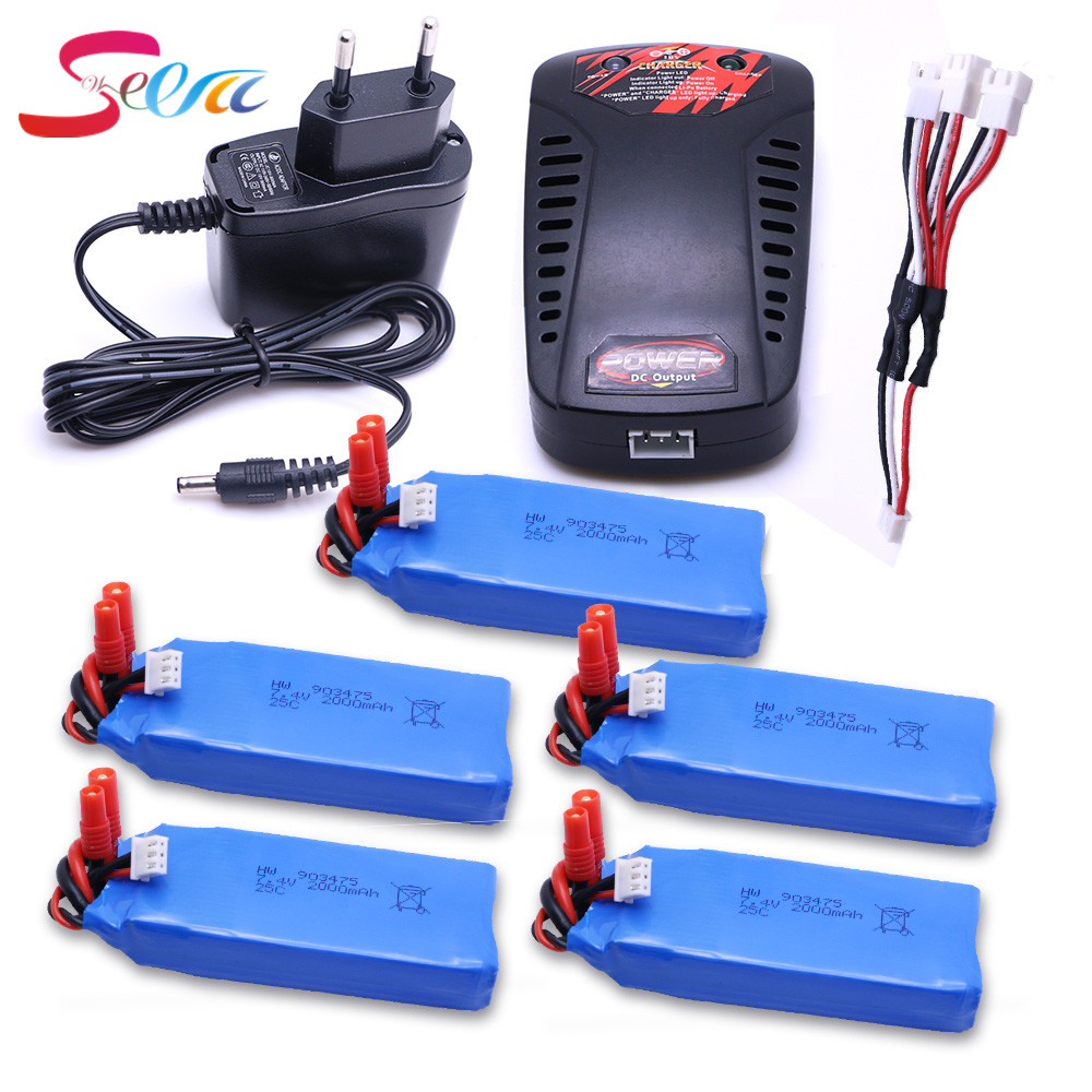 5Pcs Syma X8C X8W X8G RC Quadcopter MJX X101 Battery 7.4v 2000mah Battery +3 in1 charger For MJX X101/MJX X102H Rc Quadcopter 3 pcs 1 to 3 charger mjx x101 battery 7 4v 1200mah battery for mjx x101 rc quadcopter spare part battery