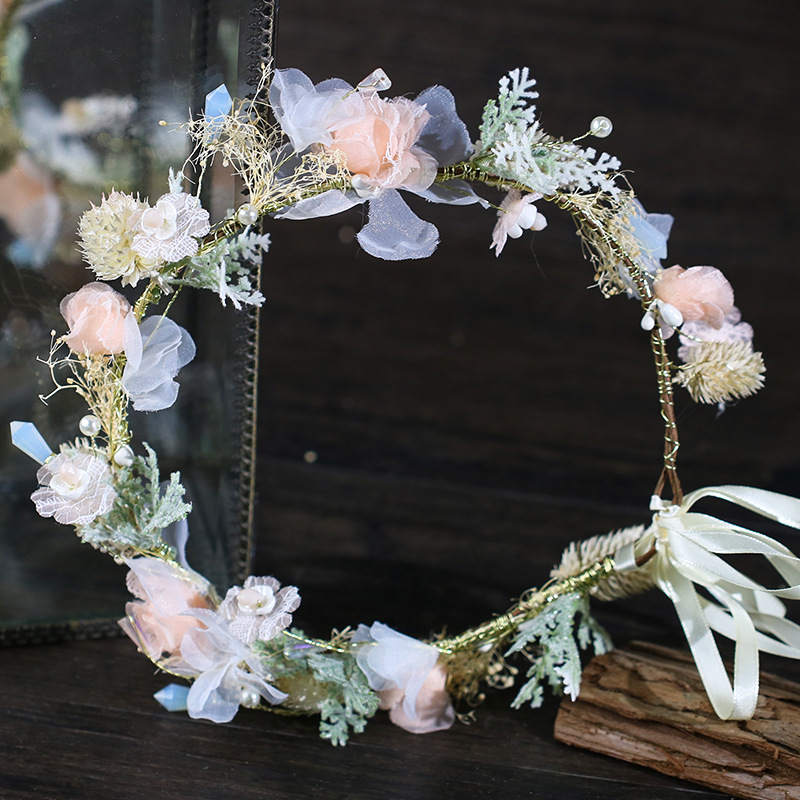 Bohemian Bride Handmade Fairy Wreath Headdress Romantic Wedding Accessories Queen Headdress Wedding Fascinatot Pink Garland 2019