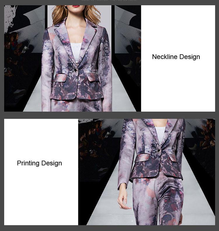 Print Women Business Suit Purple Color Pants Set 2017 04