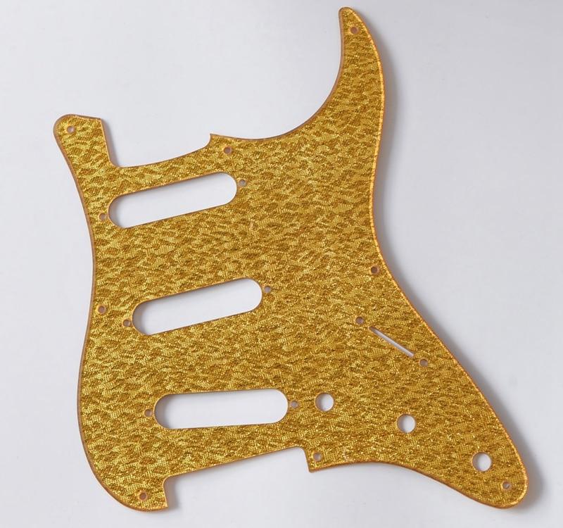 Gold Sparkle ST 8 Hole Strat SSS Guitar Pickguard fits Fender Stratocaster ...