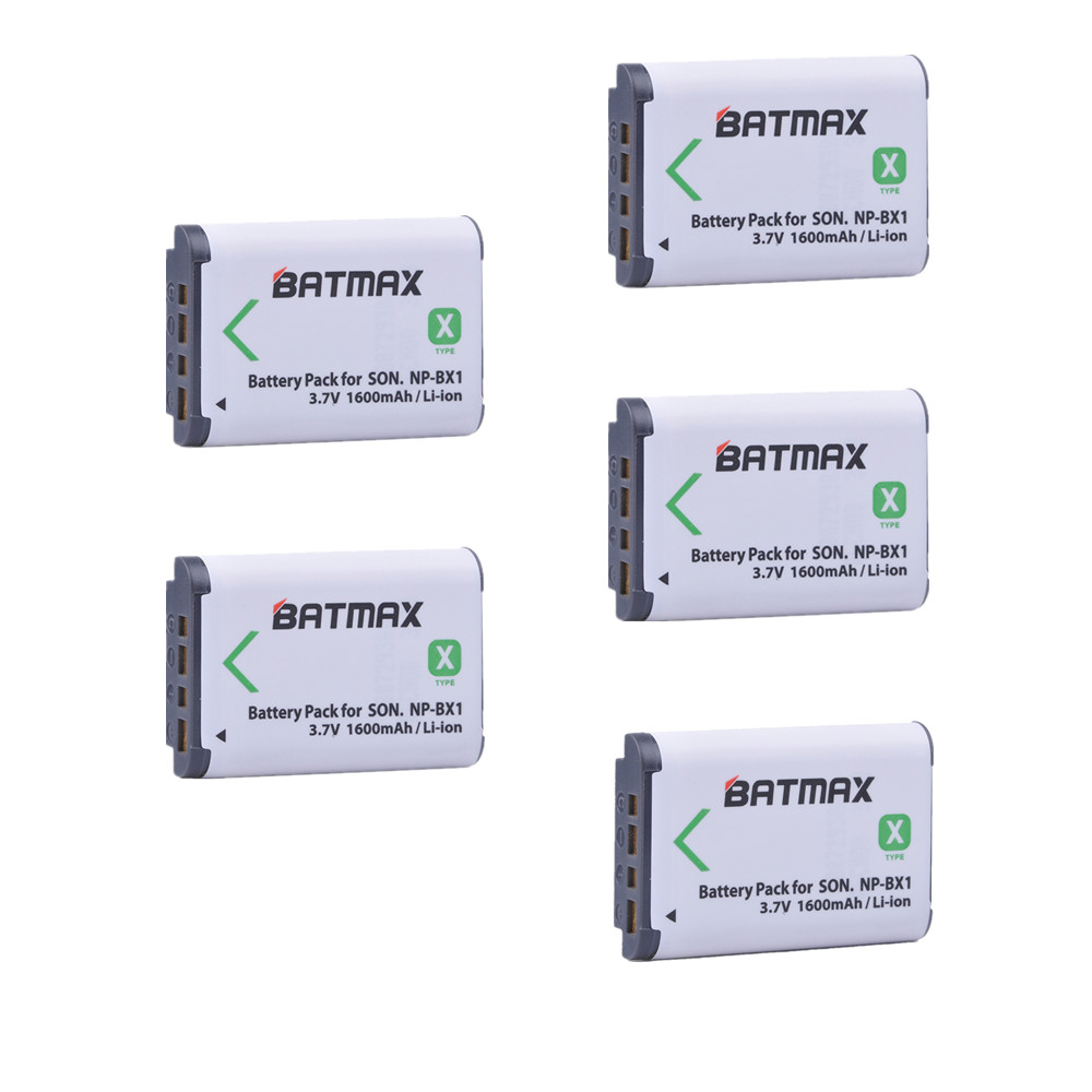 Batmax 5Pcs NP-BX1 NPBX1 np bx1 Battery Pack for SONY DSC RX1 RX100 RX100iii M3 M2 RX1R WX300 HX300 HX400 HX50 HX60 GWP88 PJ240E