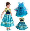 Nova moda verão 2015 Vestidos de Meninas Princesa Crianças Vestidos de Festa Meninas Do Bebê ANNA & ELSA Cosplay Vestido Roupas Meninas