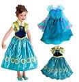 Nueva moda de verano 2015 Muchachas de La Princesa Vestidos Niños Vestidos De Fiesta Niñas ANNA & ELSA Cosplay Ropa Vestido de Las Muchachas