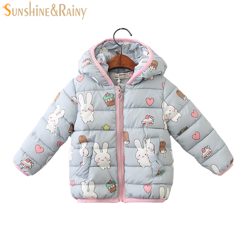 Cartoon Rabbit Printing Girls Coats Winter Jackets For Kids Clothes Outerwear & Coats Long Sleeve Children Winter Clothing