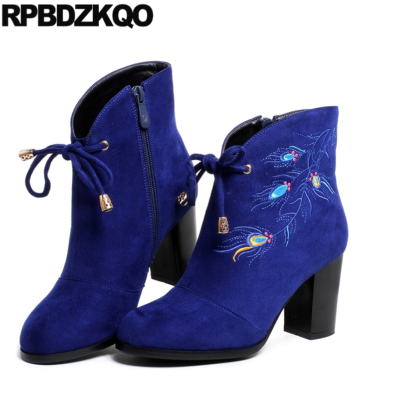 Pointed Toe Chunky Fashion Short 2017 Fall Booties Suede Side Zip Boots Ankle Embroidered High Heel Blue Shoes Female Chinese dark blue belted peep toe fashion booties