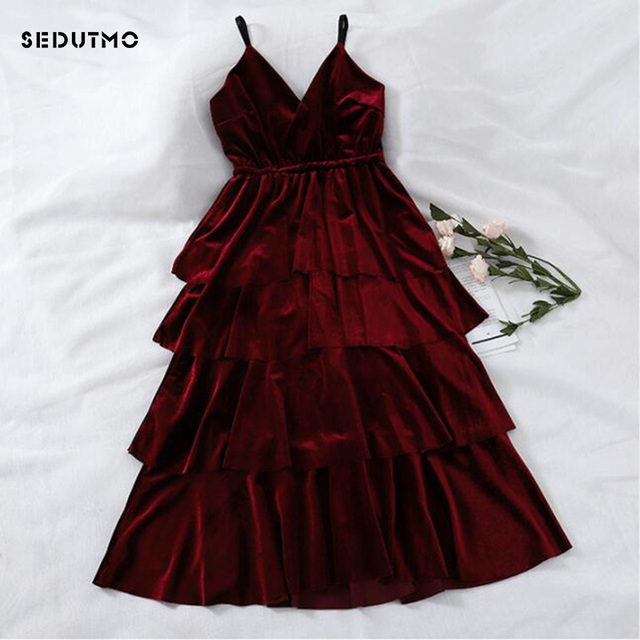 58739d77e23 SEDUTMO Spring Velvet Dress Women Tunic Sexy Maxi Spaghetti Strap Dresses  Winter Vintage Basic Sundress Black Party Dress ED564
