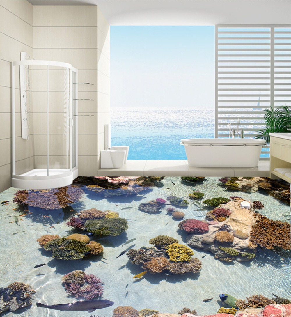 Decorate Your Home Door Wallpaper Murals 3d Fish And Stone Floor Bathroom  Large Size Pvc Waterfall Flowers Customize In Wallpapers From Home  Improvement On ...