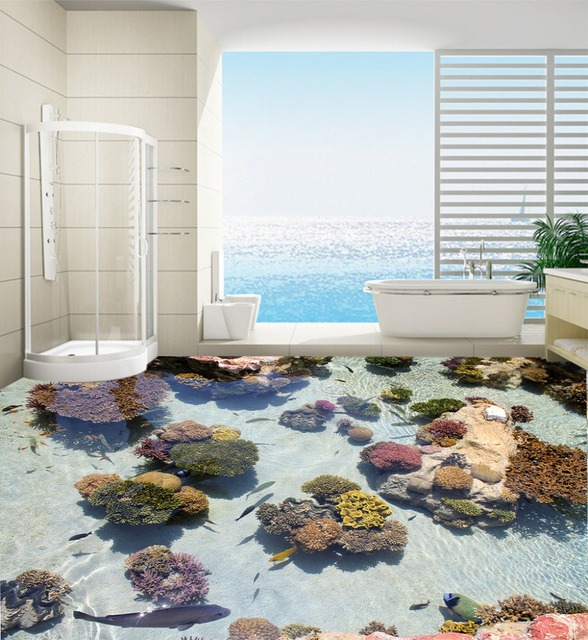 Decorate your home door wallpaper murals 3d fish and stone floor bathroom  large size pvc waterfall