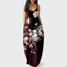 New women's positioning print dress fashion casual side pockets European and American style strap dress rolled cuff pockets side split curved dress