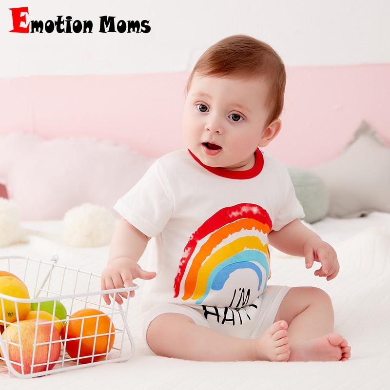 New Summer Short Sleeve Rainbow Rompers Baby 100% Cotton Pajamas Newborn  Boys Girls Cartoon Clothes Pajama