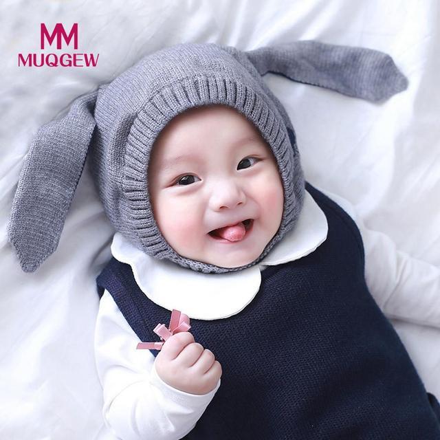 067c6c081c4 New cute Autumn Winter Baby Beanie For Boys Girls Cap Cotton Rabbit Ear  Knitted warm Children Hats Newborn Photography Props zk