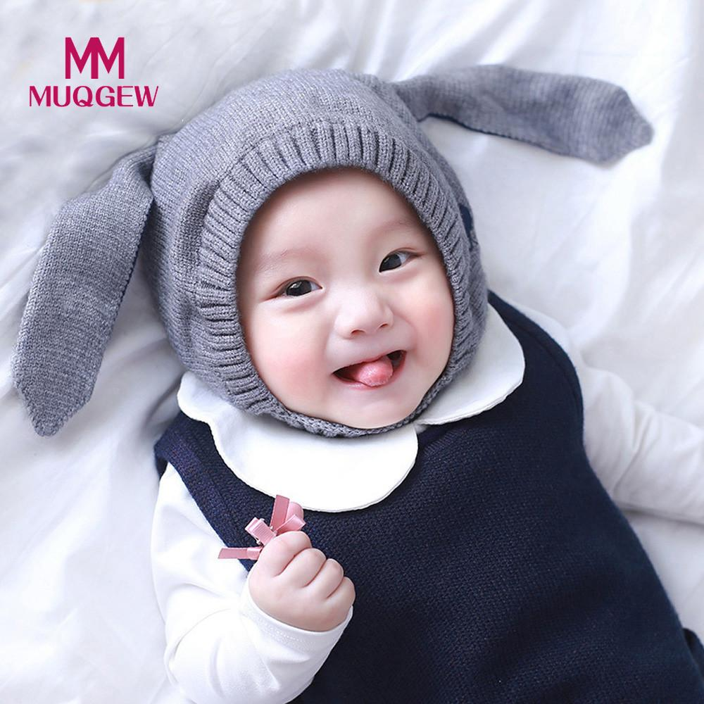 New cute Autumn Winter Baby Beanie For Boys Girls Cap Cotton Rabbit Ear Knitted warm Children Hats Newborn Photography Props zk