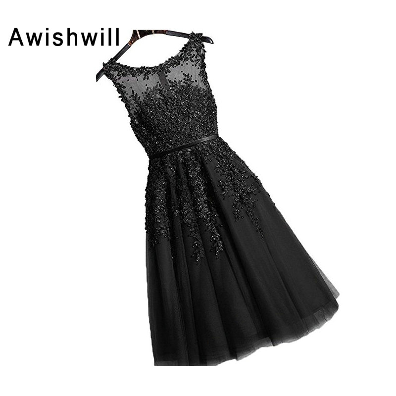 Elegant A Line Beading Appliques Tulle   Cocktail     Dresses   2019 Formal Knee Length Birthday Party Prom Gown Robe de   Cocktail
