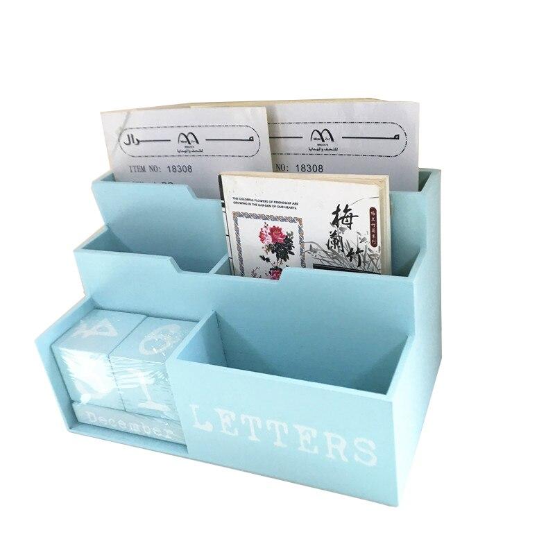 Bureau Reteo boîte de rangement en bois en bois Magazine livre bijoux bonbons conteneur de stockage décoration de la maison calendrier Figurines