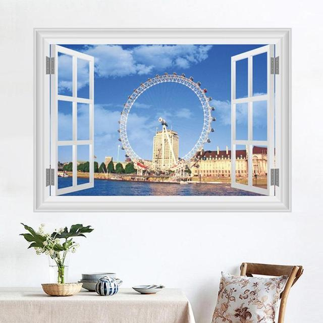 Ferris Wheel Wall Stickers Uk London Simulation Window Living Room Bedroom Background Decoration Sticker