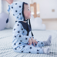 2pcs Lot Star Pattern Baby Romper Hat Long Sleeve Blue Boys Clothes Pajamas Cotton Infantil Clothing