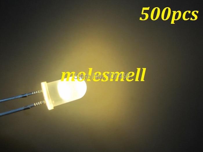 Difundido de Alta Frete Grátis Branco Quente Potência Brilhante Redondo Led Leds Lâmpada Leitoso 500 Pçs 5mm