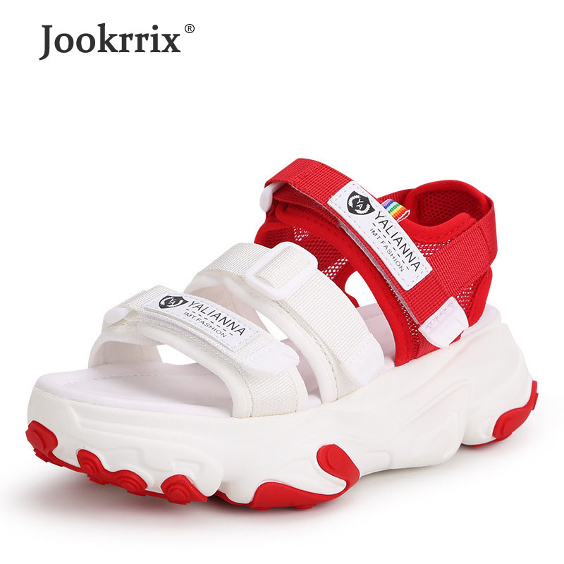Jookrrix Women Sandals 2019 Woman Increased 6cm Chunky Shoes Fashion Mesh Breathable Sandals Brand Wedges High