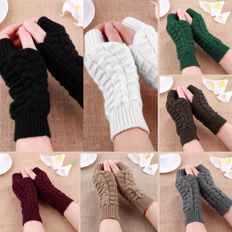 Knitted Long Hand Gloves Women's Warm Embroidered Winter  Gloves Fingerless Gloves For Women Girl Guantes Invierno Mujer Luvas(China)