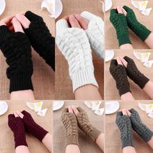 Dzianiny długie rękawiczki damskie ciepłe haftowane zimowe rękawiczki bez palców rękawiczki dla kobiet dziewczyna Guantes Invierno Mujer Luvas tanie tanio Dla dorosłych WOMEN Akrylowe Paisley Nadgarstek Moda JO883601