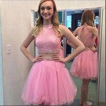 Zwei Stücke Rosa Strass Kurze Heimkehr Kleider Mode Spitze Tüll Rüschen Abschlussfeier Kleider Günstige Homecoming Kleid