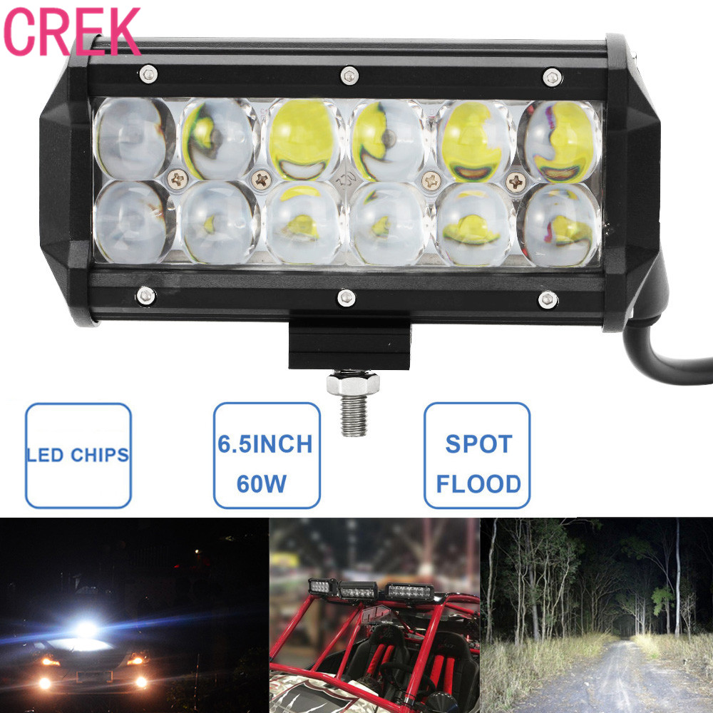 CREK 60W 6.5 Inch LED Work Light Bar Car 12V 24V Auto Pickup SUV UTV Truck ATV Boat UTE Offroad Worklight Driving Fog Lamp