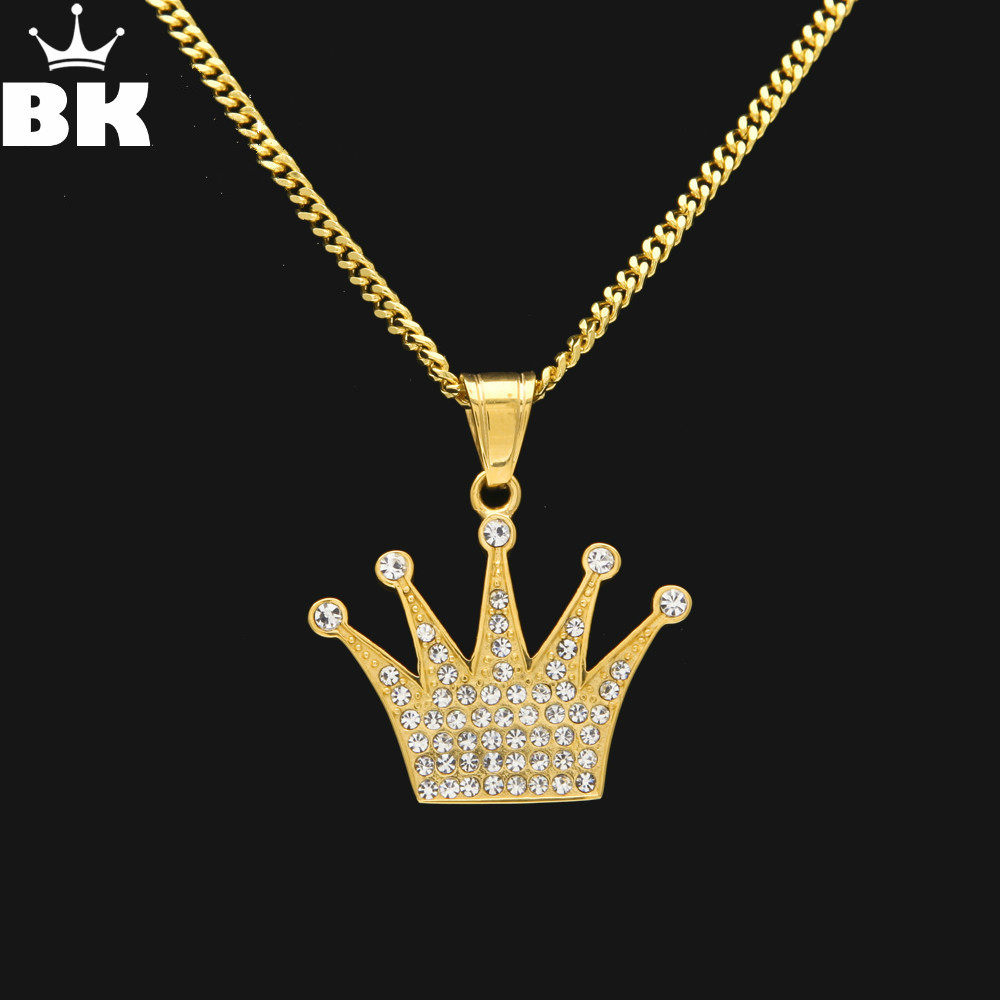Hip Hop King Crown Pendant Necklace Stainless Steel Gold Color Iced Out Rhinestone Charm Necklace With 3mm 60cm Cuban Chain padovan корм padovan scagliola корм для птиц зёрна канаречнных семян 25 кг