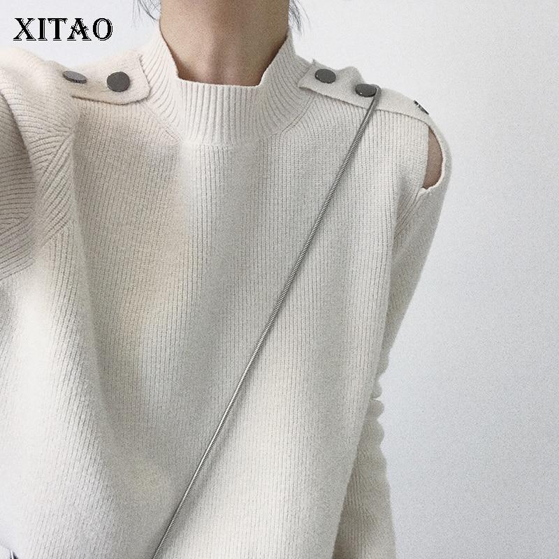 [xitao] Korea Herbst Neue 2018 Casual Frauen Taste Dekoration Rollkragen Gestrickte Tops Weibliche Oansatz Volle Hülse Pullover Kzh2109