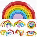 7 unids/lote coloridos bloques de construcción de madera del arco iris stacker creativo círculo de madera de anidación conjunto para los niños del bebé play juego juguetes