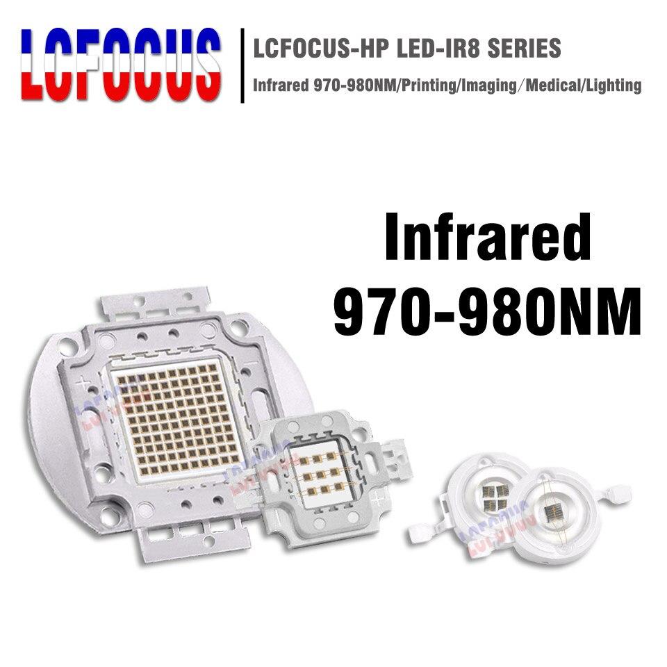 Haute puissance puce LED IR 980nm 3 W 5 W 10 W 20 W 30 W 50 W 100 W infrarouge 980 NM émetteur lampe lumière perle COB 3 5 10 20 30 50 100 W Watt