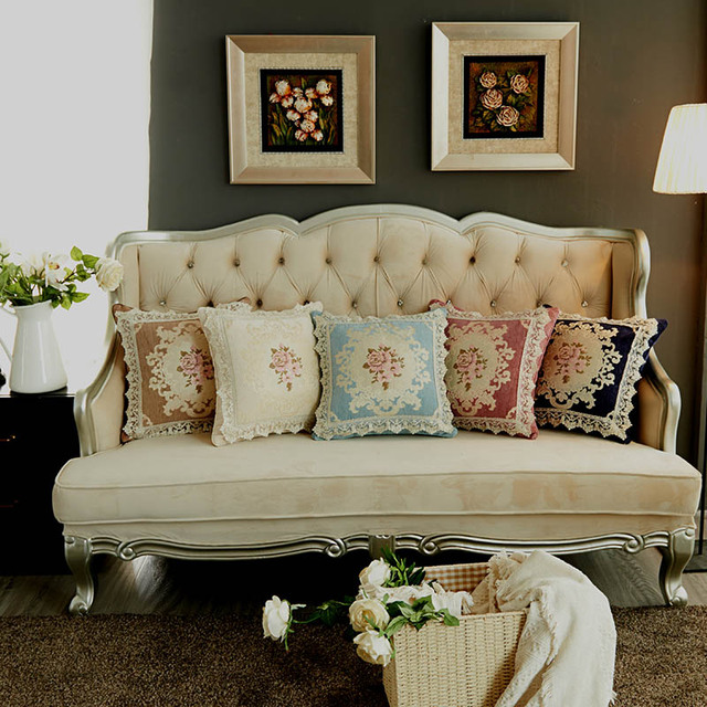 Curcya Chenille Luxury Cushion Covers 45x45cm Living Room Chair Sofa Decoration Gifts Jacquard Fl
