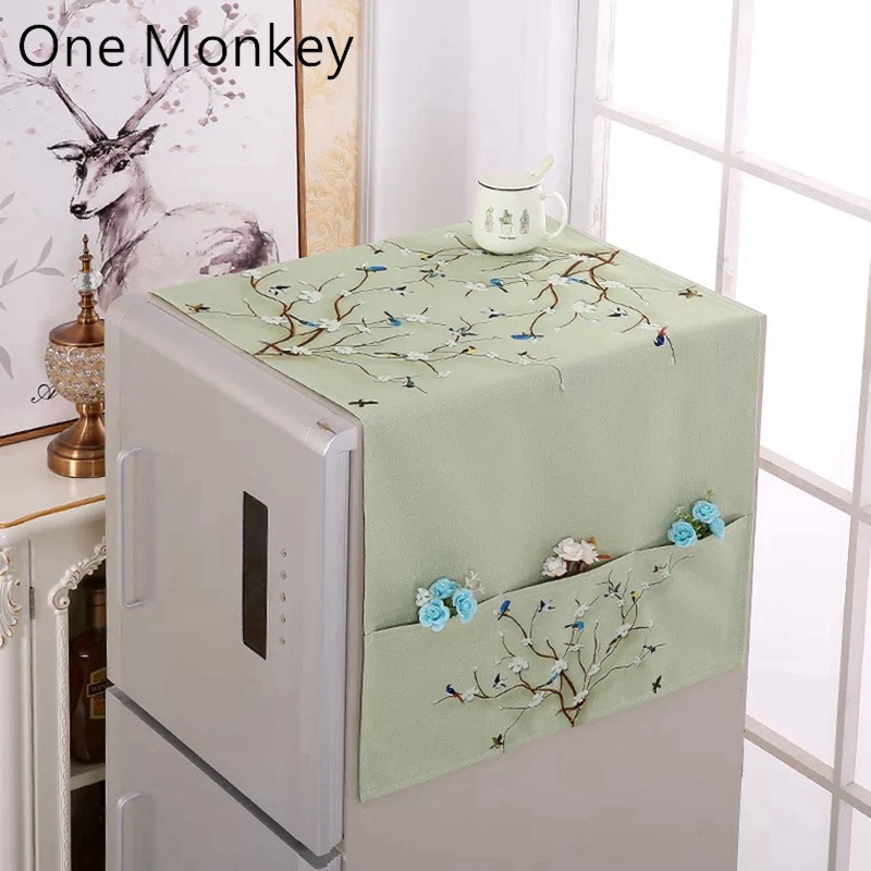 Retro Cotton Linen Refrigerator Organizer Single Double Door Fridge Cover Drum Washing Machine Dust Cover Kitchen Household Item