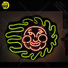 Неоновая вывеска улыбка солнце лицо неоновые вывески Настоящее стекло трубчатая доска неоновая лампа вывеска украшение дома спальни ручной работы лампы свет