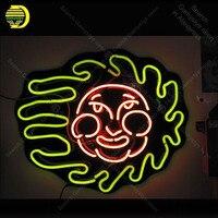 Sinal de néon Sol Sorriso Rosto Placa Sinais de Néon Tubo de Vidro Real Neon Lâmpada Tabuleta decorar a casa Artesanais lâmpadas de Luz Do Quarto up|Lâmpadas de néon e tubos|Luzes e Iluminação -