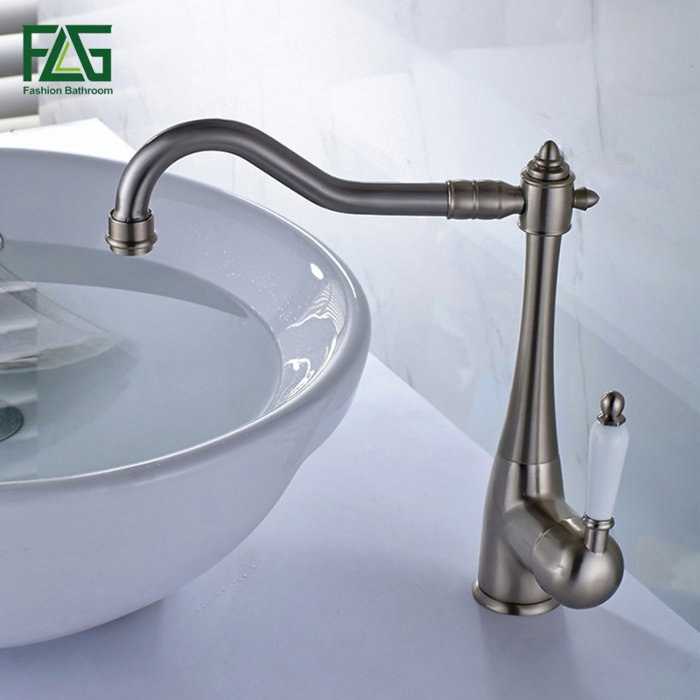 FLG Euro Basin Faucet Sink Faucet Brushed Nickel Cold Hot Porcelain Holder 360 Degree Swivel Bathroom Wash Basin Faucet Tap M262
