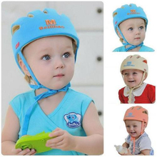 цены 2016 Baby Toddler Safety Helmet Headguard Cap Adjustable Hat No Bumps Kids Walk Learning Helmets Protective Hat Gear Cap XT