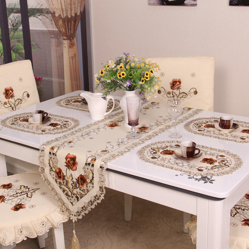 Retro European Pastoral Embroidered Tablecloth Table Runner Home Kitchen Dining Room Decoration Furniture Protector Covers