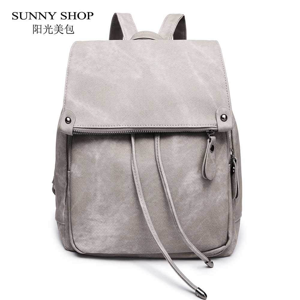 5b87eadfc ... SUNNY SHOP Vintage Casual Preppy Solid Women Drawstring Backpack Girls  School Rucksack Matte PU Leather A4 ...