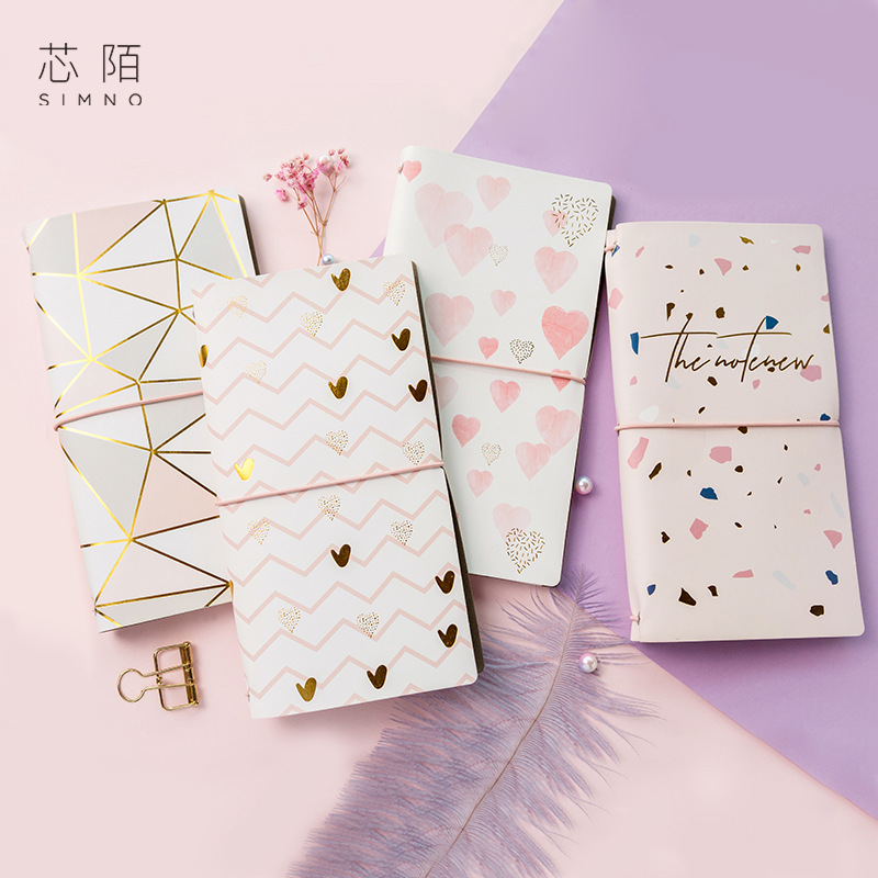 Pink Gold Foil Leather Cover Journal And Notebooks Bandage Portable Planner Month Daily Grid Paper Note Book School Stationery