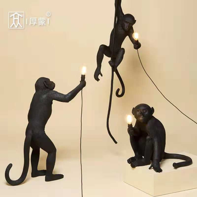 New Nordic Monkey Lamp Led Table Lights Luminaire Industrial Lighting Hemp Rope Vintage Chandelier Lampadario Moderno Fixtures