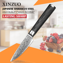 XINZUO 3.5 inch fruit knife Damascus steel kitchen knives high quality Japanese vg10 paring knife K133 Pakka wood FREE SHIPPING