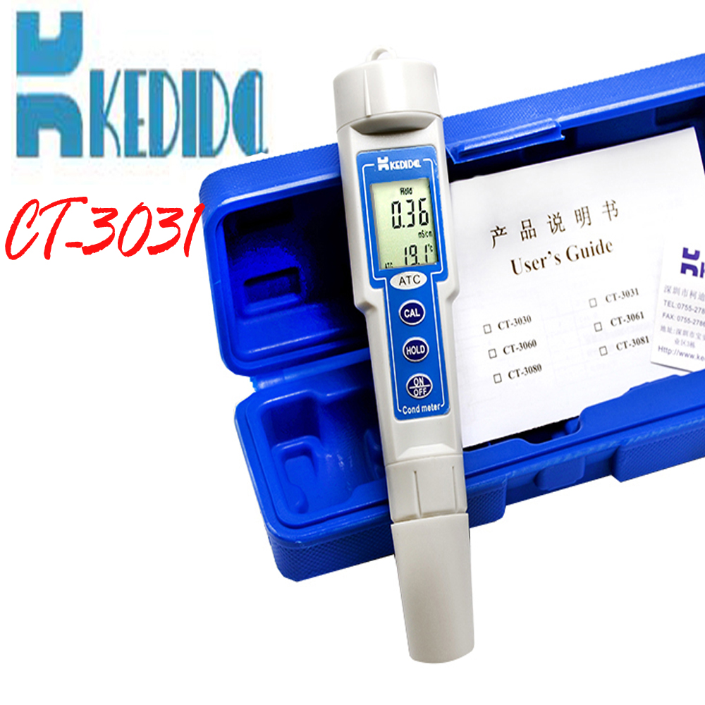 CT-3031 conductivity meter, Portable Digital  LCD Waterproof Conductivity Meter Tester Pen Type conductivity meter free shipping  цены