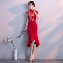 17e148e5c39 Robe de mariée sirène rouge élégante robe de soirée traditionnelle  Cheongsam robe Sexy longue Qipao broderie