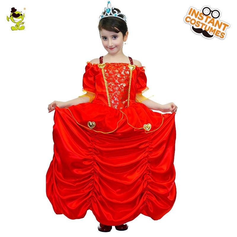 Чистый красный костюмы принцессы с плиссированной отворотом дети средневековый Роскошные Принцесса роль играют для шоу вечеринок