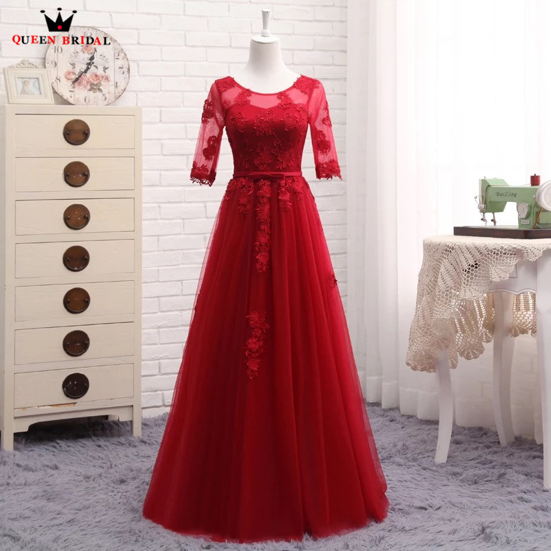 A line Half Sleeve Lace Tulle Evening Dresses Robe De Soiree 2019 New Purple Red Pink