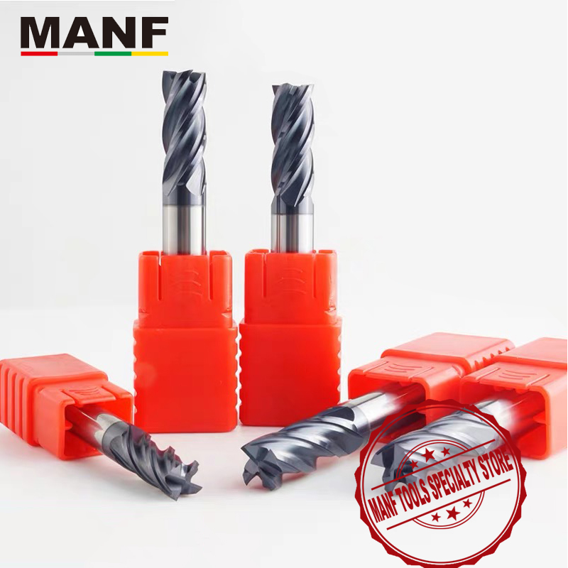 MANF 4Flute HRC50 4mm 5mm 6mm 8mm 10mm End Mill Coated Flat Bottom Milling Cutter Tungsten Cobalt Alloy TiAIN End Mills