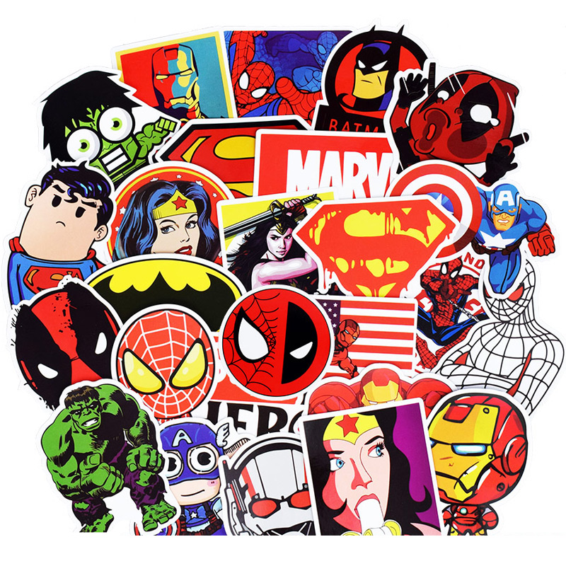 50Pcs Super Hero Stickers For Suitcase Skateboard Laptop <font><b>Cell</b></font> <font><b>Phone</b></font> Motorcycle Bicycle <font><b>Car</b></font> <font><b>Accessories</b></font> Mixed Marvel Stickers
