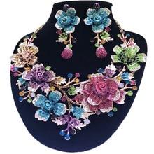 Zestawy biżuterii ślubnej dubaj złota biżuteria kobiety duży naszyjnik zestawy kobiety naszyjnik 24k złote zestawy biżuterii Rose naszyjnik kwiatowy