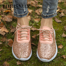 HIBISMIX Bling Women Sneakers 2019 Fashion Spring Sequined Cloth Lace Up Casual Shoes Plus Size 1336